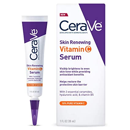 Cera Ve Vitamin C Serum With Hyaluronic Acid | Skin Brightening Serum For Face With 10 Percents Pure Vitamin C | Fragrance Free | 1 Fl. Oz by Cera Ve