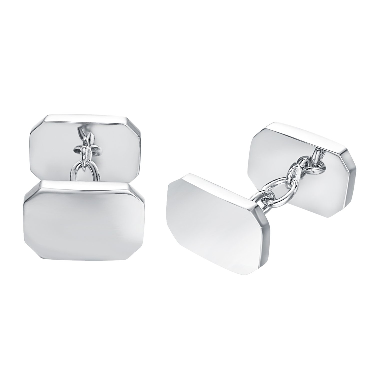 Yoursfs Square Cufflink Blanks Classic Silver Plated Cuff Links for Men's Shirt Tuxedo