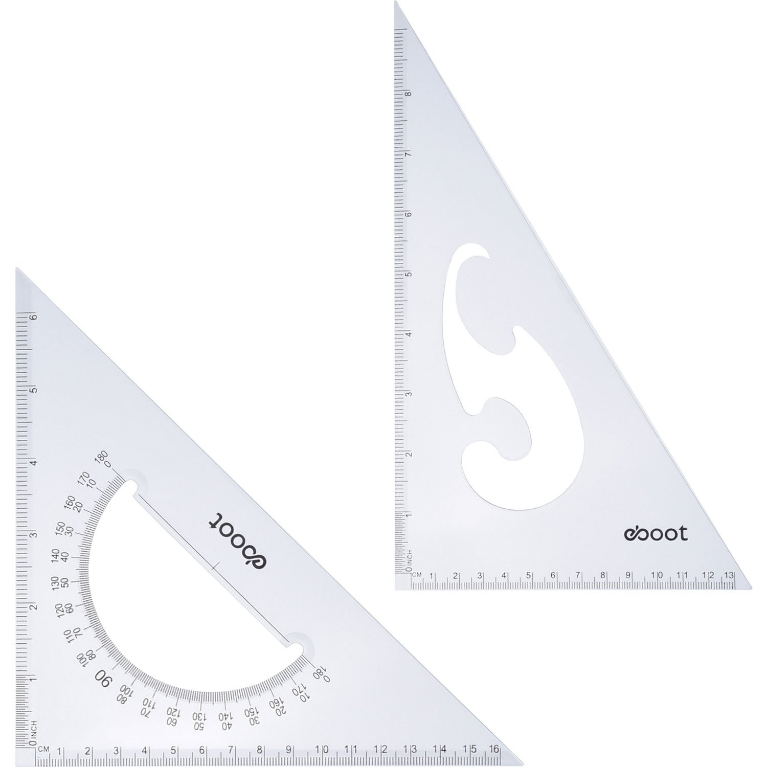 eBoot Large Triangle Ruler Square Set, 30/60 and 45/90 Degrees, Set of 2