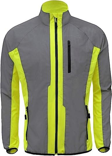 Men/'s Windproof Cycling Jacket Waterproof High Visibility MTB Bike Wind Coat