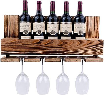 Vinobarto Freja Palette En Bois Brule Petit Modele Espace Pour Bouteilles Et Verres A Vin Amazon Fr Cuisine Maison