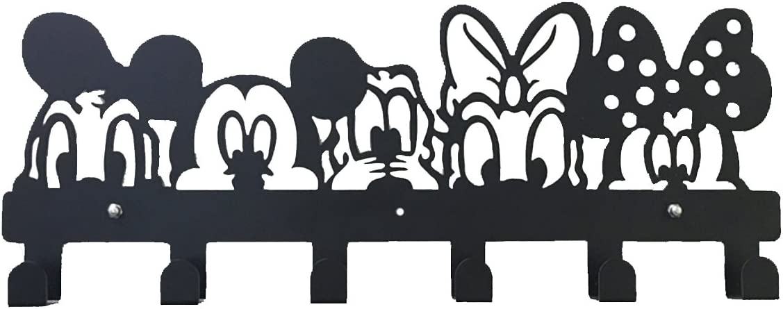 YOURNELO Cute Ironwork Cartoon Characters Animals Art Wall Mounted Decorative Coat Rack Hooks Disney