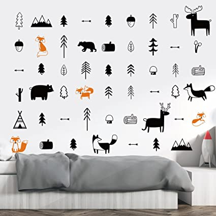Amazon.com: DecalMile Woodland Animals Wall Decals Deers Foxes Trees ...