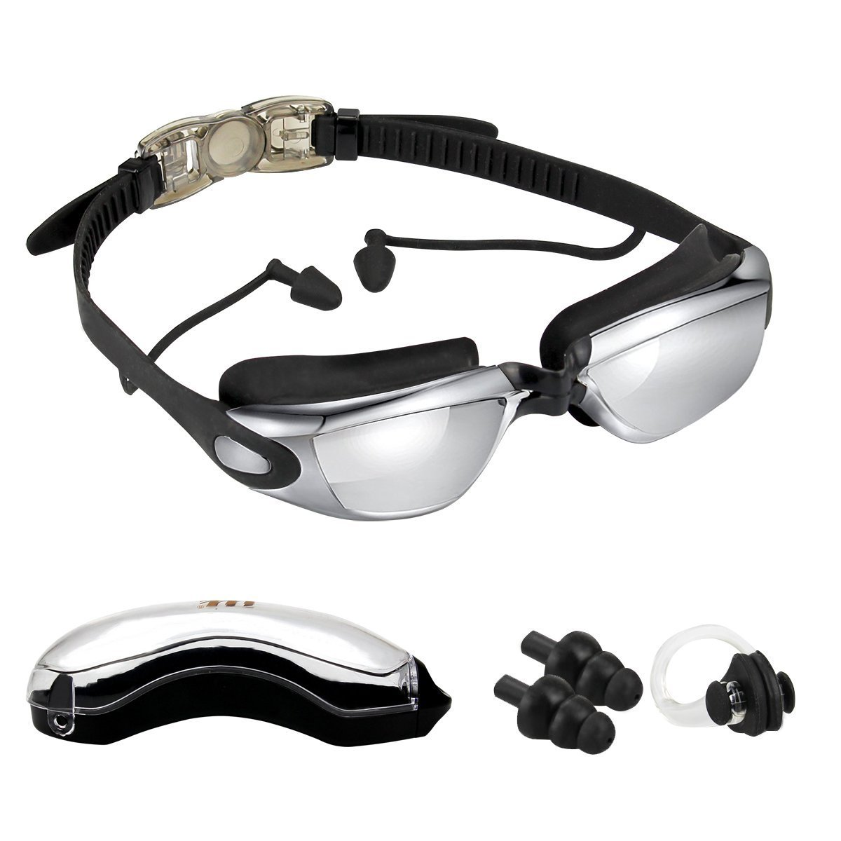 RUNFON Swim Goggles with Earplug, Anti-Fog,UV Protection Mirror Swimming goggles for Adult Men Women Youth Kid Child,Swim Goggles + Case + Nose Clip + Ear Plugs … (black)