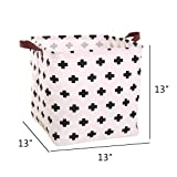 Square Canvas Toy Storage Bins Basket with Handle