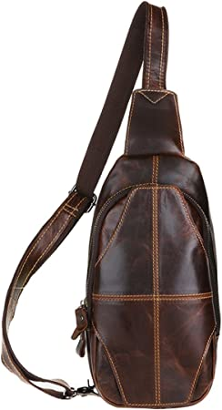 Mens Leather Chest Pack Sling Backpack Shoulder Messenger Crossbody Bag 2 Colors