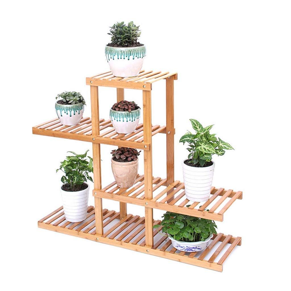 Flashing FL- Espositore Multi-Strato per vasi da Fiori Scaffale per scaffali Multi-Strato con mensole in bambù (colore   colore del Legno, Dimensioni   4-Layer)