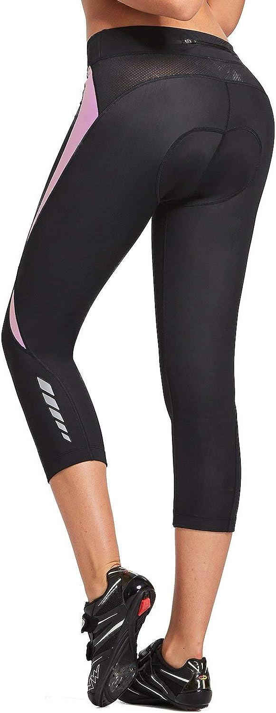 BALEAF Women's 3D Padded Gel Cycling Pants Bike Shorts 3/4 Capris Bicycle Riding Biking Tights Pocket
