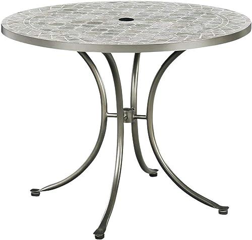 Home Styles Umbria Gray Concrete Tile Round Top Patio Table