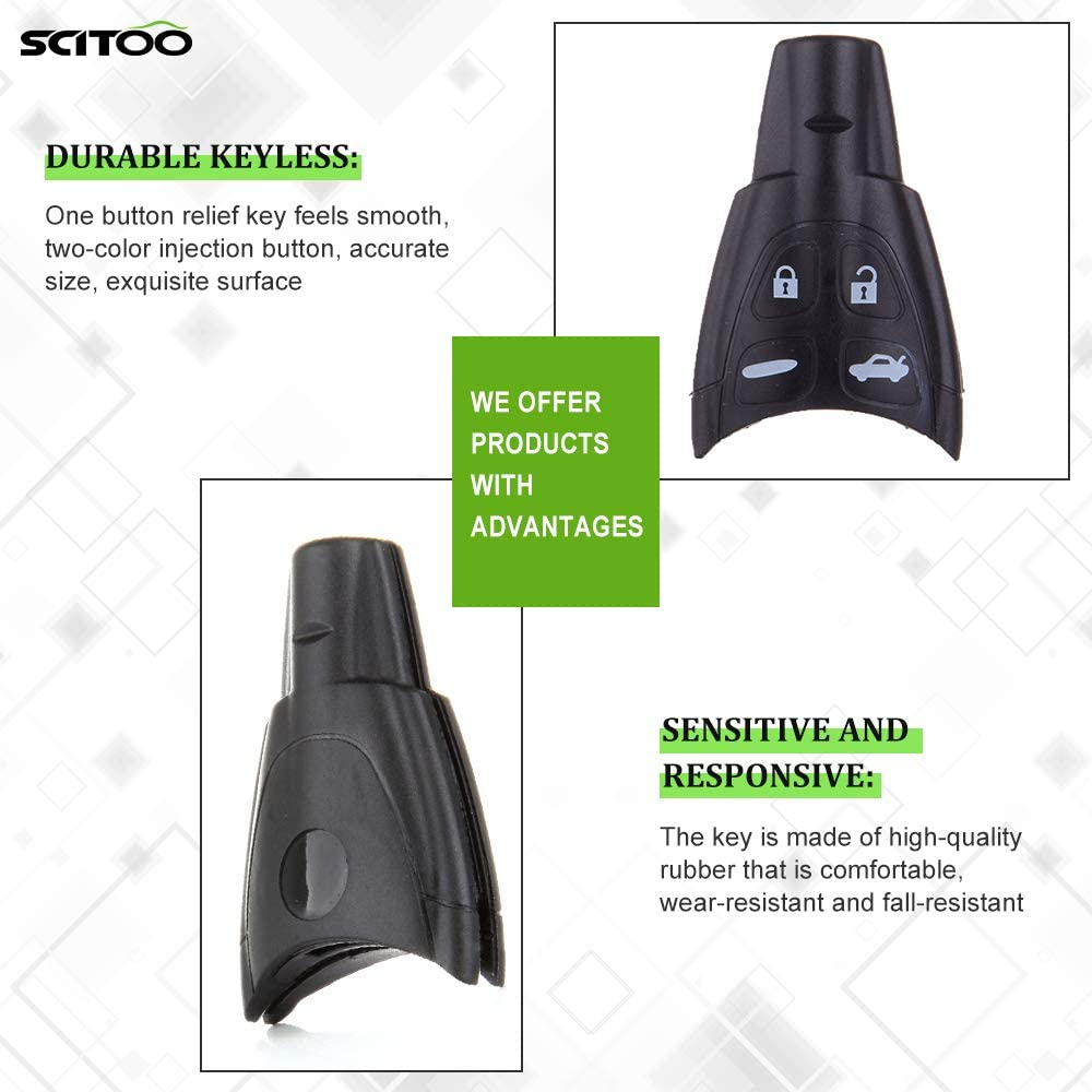 SCITOO Compatible with 2 Replacement Remote Car Key Fob Shell Pad Case Battery fit LTQSAAM433TX