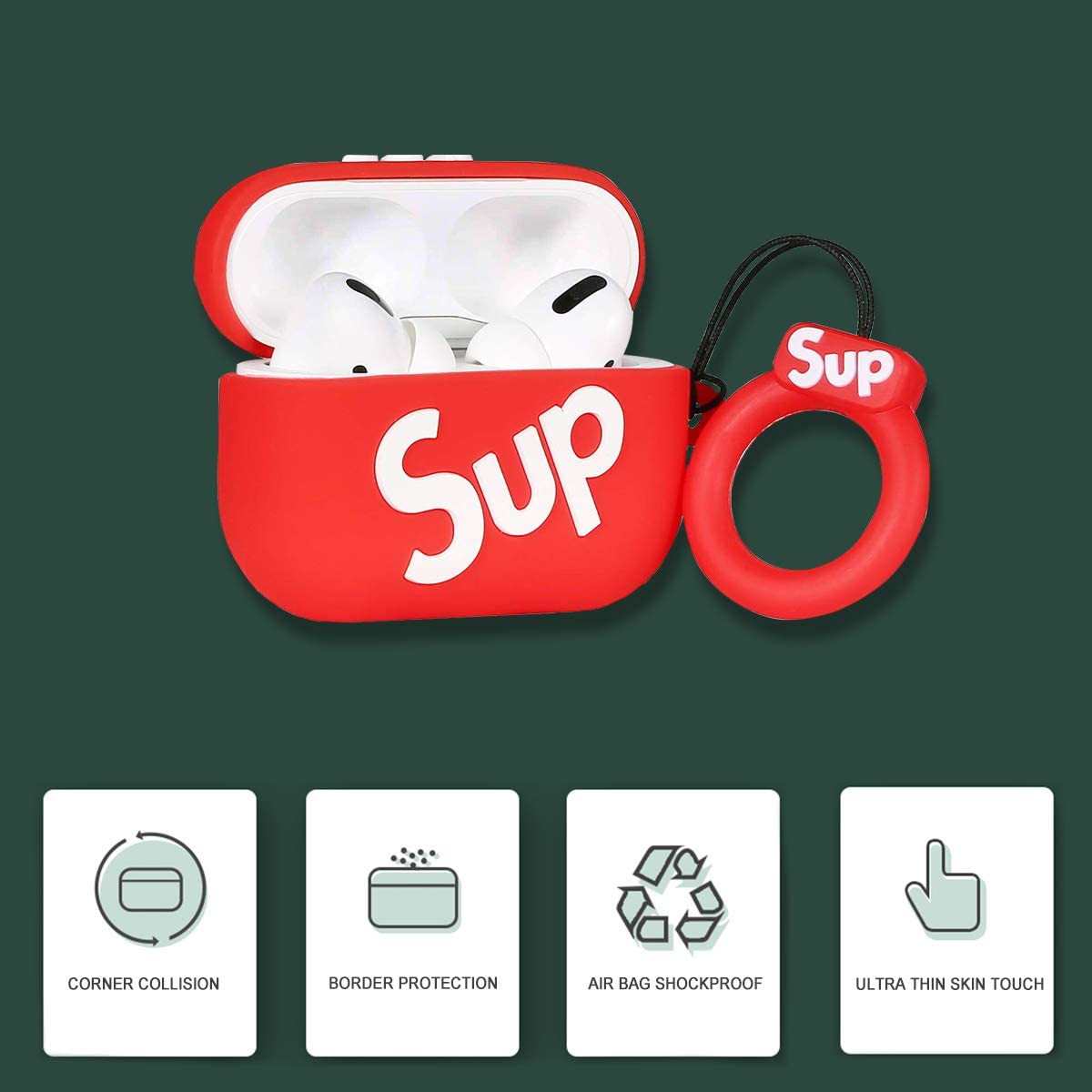 Airpods Pro Red Sup Case,3D Soft Silicone Protective Cover with Keychain,Sport Fun Cool Stylish Fashion,Shockproof,Hingeless,Slim-Fit,Washable and Anti Scratching.Compatible for Airpods Pro//Airpods 3.