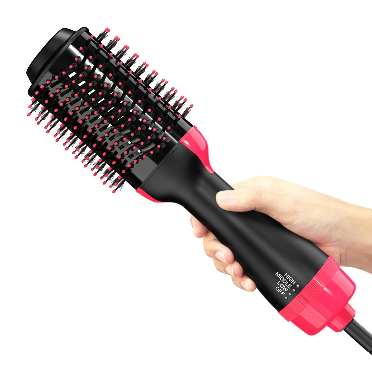 Professional Salon Hot Air Brush, One Step Hair Dryer and Volumizer Styler and Dryer 2-in-1 Negative Ion Straightening Brush Hair Dryer with Comb LANODT