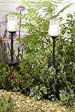 Garden MIle 2x Large Glass Solar LED Candle Lights Garden Lighting, Solar Lights Garden LED Solar Lights Outdoor. Flicker Flame LED Candle Lights Pathway Lights Solar Lights Garden Ornaments. (2)