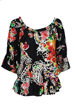 4a3f86f7a6fa1 Amazon.com  LAUREN RALPH LAUREN Womens Ordisty Sheer Printed Blouse Black  S  Clothing