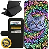 Flip Wallet Case for iPhone X/10 (Psychedelic Cat Trip LSD College Frat Life) with Adjustable Stand and 3 Card Holders | Shock Protection | Lightweight | Includes Free Stylus Pen by Innosub