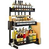 Ctystallove 3 Tier Metal Kitchen Spice Rack Countertop Standing Corner Shelf Removable Seasoning Organizer Jars Bottle Storage Knife Utensils Holder with 3 Hooks, Black