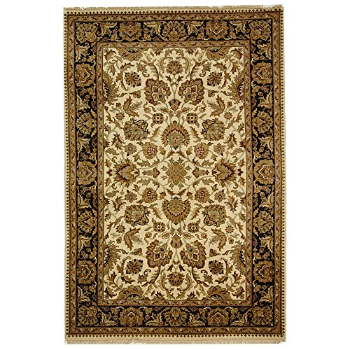 Safavieh Dynasty Collection DY219A Hand-Knotted Beige and Black Premium Wool Area Rug (5' x 8')