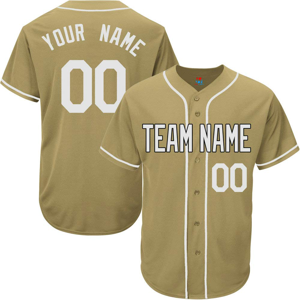 Gold Custom Baseball Jersey for Women Game Embroidered Team Player Name & Numbers,White Size L by Pullonsy