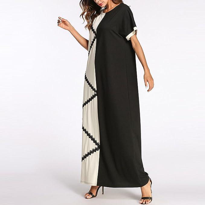 TAAMBAB Diseño Simple de Verano Vestido Largo Maxi Vestidos Marroquí Abaya Kaftans para Mujeres Batas Musulmanas: Amazon.es: Ropa y accesorios