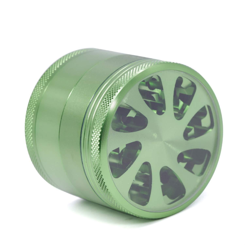 Yzyamz Herb Grinder Aluminum Four-layer Transparent Petal Grinder Portable Manual Grinder Bench Grinder, 2.1'' (55Mm) (Color : Green) by Yzyamz
