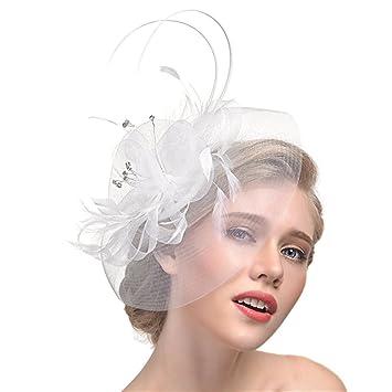 Tocado para mujeres niñas diseño con pluma sombrero con flores de malla jpg  355x355 Amazon mujer b78bd6b94a8
