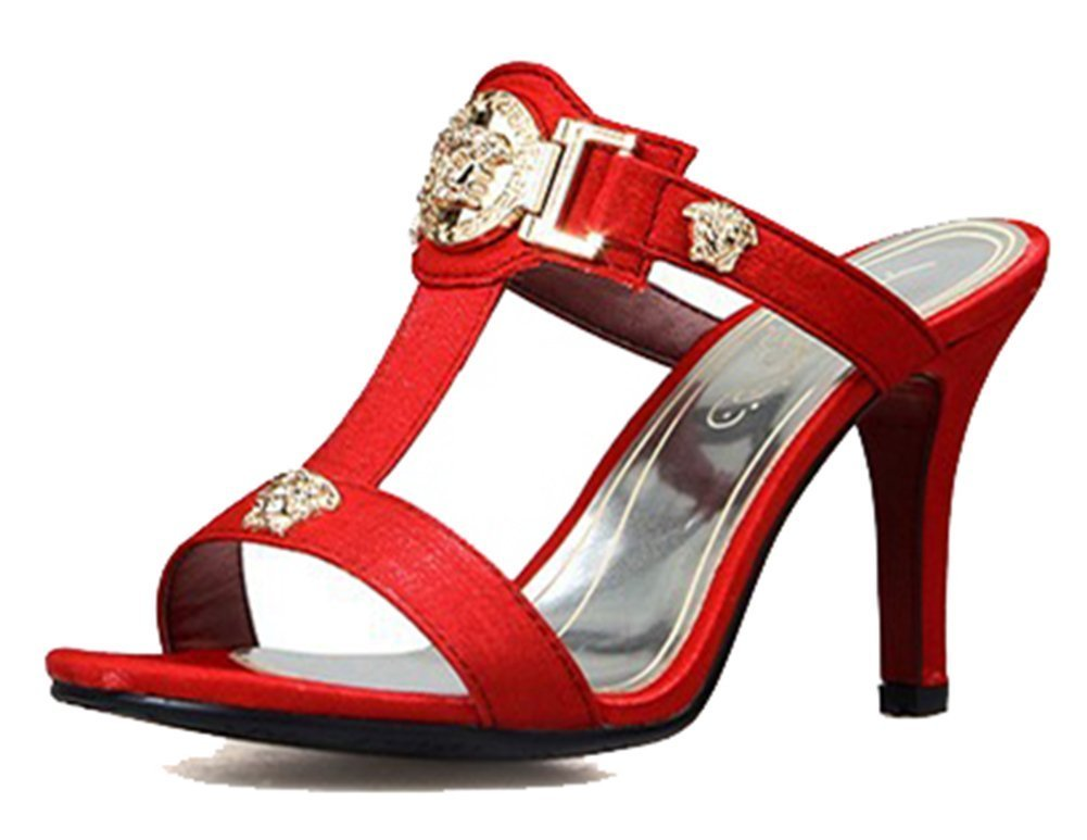 SHOWHOW Women's Gladiator Slide Mule Sandals - Open Toe T-Strap - High Heels Red 10 B(M) US