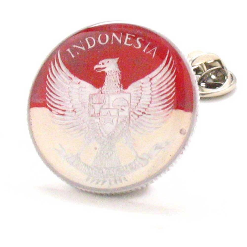 Marcos Villa Indonesia Coin Tie Tack Lapel Pin Jakarta Surabaya Borobudur Taktik dasi bendera LDS Missionary Gift