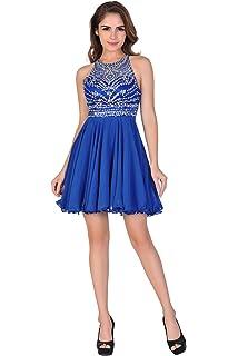 Miss Chics Women Chiffon Backless Short Beaded Prom Dress Homecoming Dress 2016(4,Blue
