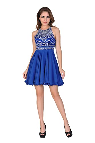 Miss Chics Women's Homecoming Dress Prom Gowns Chiffon Backless Beaded 2017
