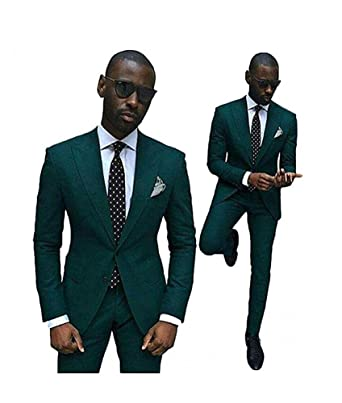 green slim fit wedding suits for men 2 pieces groom tuxedos business
