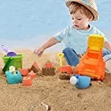 Image of Kids Beach Sand Toys Set - 12Piece Trucks Construction Toy with Castle Shovel Sand Molds Outdoor Toy for Kids by Hanmun