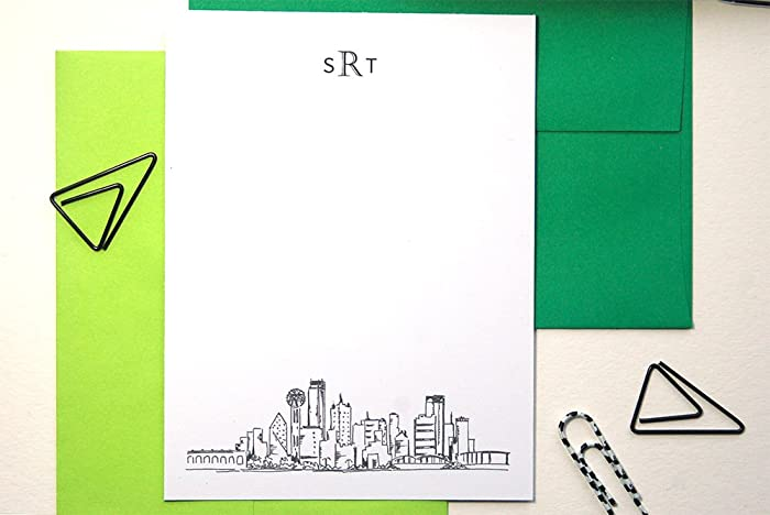 Amazon Com Mens Stationary Set Dallas Skyline Art Monogram Thank