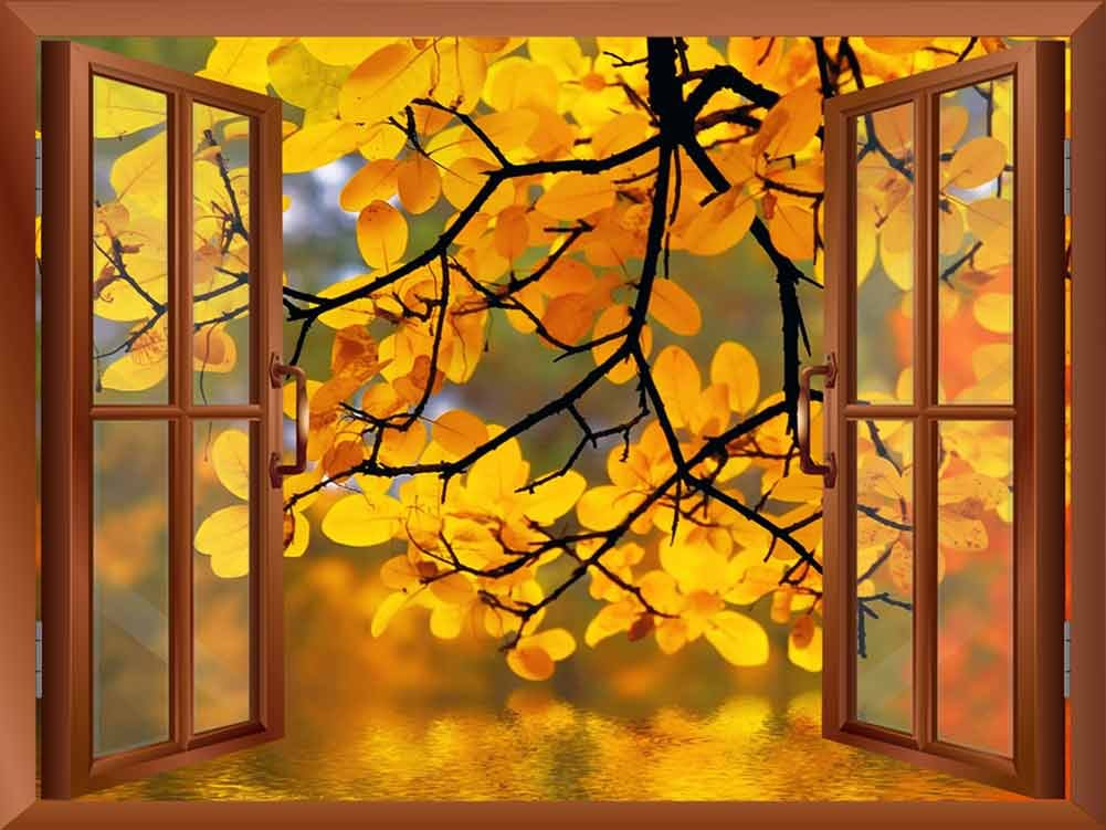 Copper Window Looking Out Into a Yellow Tree Framing a Lake Wall ...