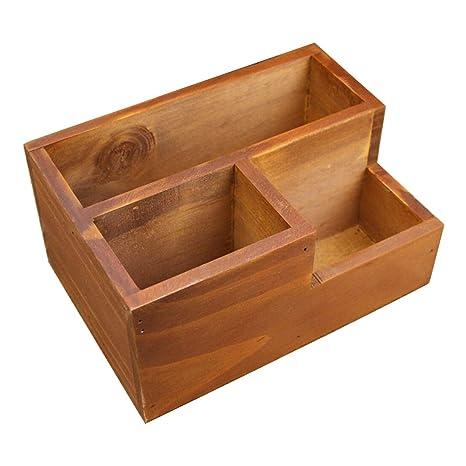 Coideal - Organizador de escritorio de madera con soporte de caja de madera para escritorio,