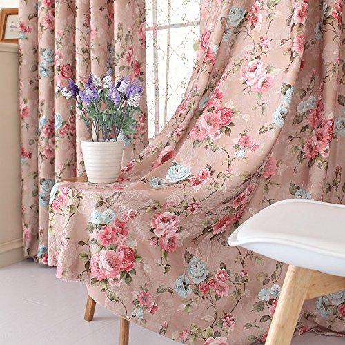 FADFAY Home Textile,Romantic Vintage Floral Window Curtain Set,Fancy  European Royal Flowers Bedroom Curtains,Modern Curtain,2Panels