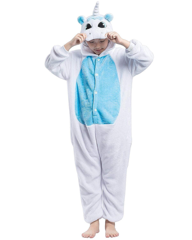 DELEY Unisex Bambini Unicorno Pigiama Cartone Animato Animale Pezzi con Cappuccio Pigiameria Cosplay Costume