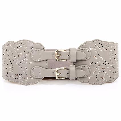 ERLINGSAN-YD Mujer Invierno Nuevo Doble Hebilla Tallada Hueco Cintura Sello  elástico Ancho cinturón cinturón a0d06ceb8b0b