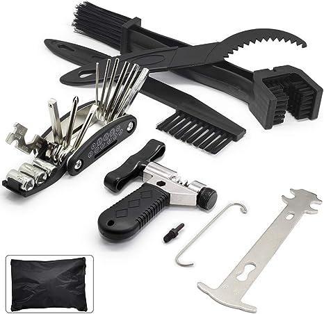 Juego de 7 herramientas de cadena de bicicleta, separador de cadena de bicicleta con gancho de