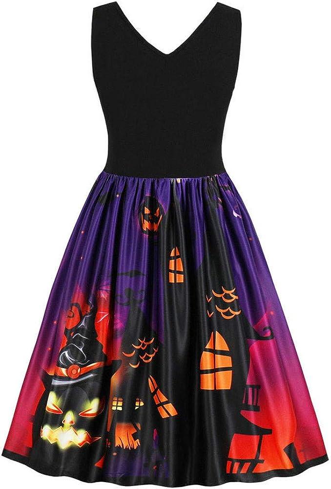 Dunacifa Women Sleeveless Vintage Dresses Pumpkins Halloween Evening Prom Dresses Costume Swing Dress