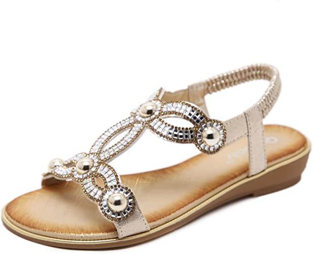 Womens Ladies Diamante Toe-Post Flat Bling Summer Peeptoe Sandals Shoes Sizes
