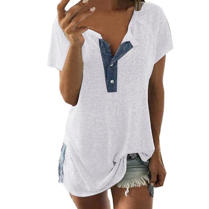 ef995bbc7a YunYoud Sommer Tops Damen, Frau Kurzarm T-Shirt Lose Bluse Beiläufig Tasten  Pullover Patchwork Baumwolle gemischt Hemd Weich Oberteile: Amazon.de: ...