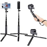 Smatree Teleskop Selfie Stick mit Stativ für Gopro Hero 7/2018, Hero 6/5/4/3 +/3/2/1/Session/Fusion Kameras, Ricoh Theta S/V, M15 Kameras, Kompaktkameras und Handys