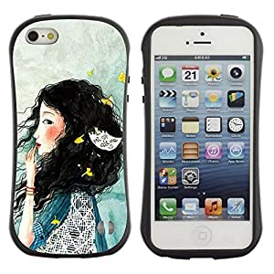 "Pulsar iFace Series Tpu silicona Carcasa Funda Case para Apple iPhone 5 / iPhone 5S , Señora Woman profundo azul triste"""