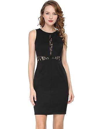 Allegra K Vestido Negro Pequeño Sobre La Rodilla Lápiz