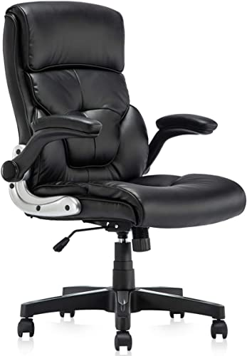 B2C2B Ergonomic Leather Executive Office Chair Computer Desk Chair Adjustable Racing Chair Task Swivel Chair Armrest and Lumbar Support
