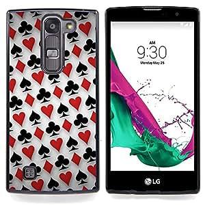 """Patrón Card Deck"""" - Metal de aluminio y de plástico duro Caja del teléfono - Negro - LG Magna / G4C / H525N H522Y H520N H502F H500F (G4 MINI,NOT FOR LG G4)"""