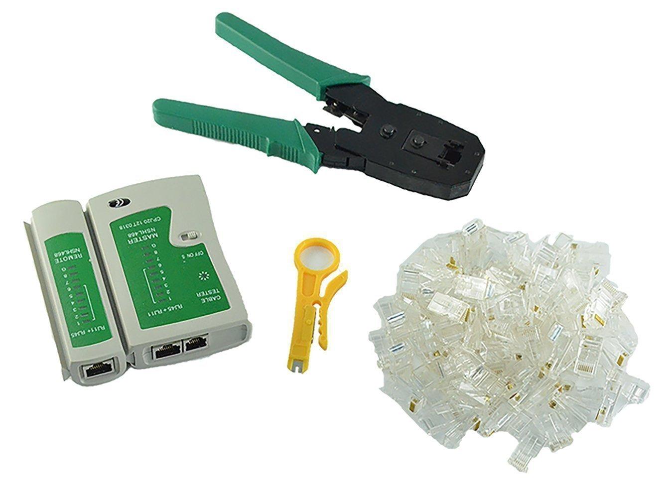 Comprobador de cable + alicates de crimpar crimpadora + 100 RJ45 CAT5 CAT5E Conector Plug Red Juego de herramientas para: Amazon.es: Coche y moto