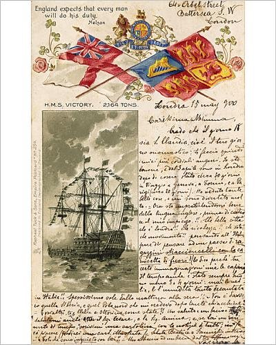 Photographic Print of Hms Victory, Flags and Nelson Quote