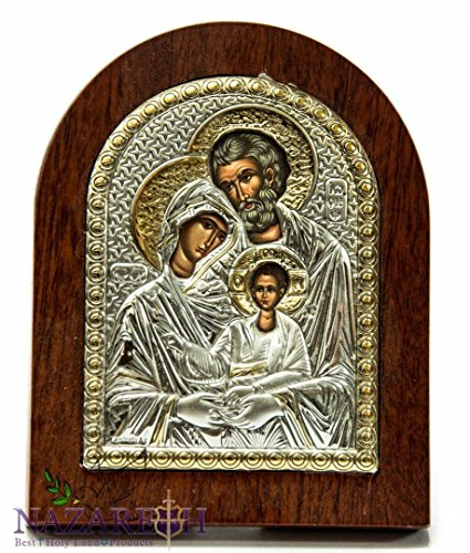 The Holy Family Catholic Sterling Silver Icon With Wood Frame 3.9'' Jerusalem by Holy Land Gifts