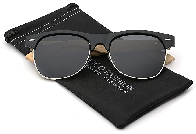 0109f09d88 Image Unavailable. Image not available for. Color  Bamboo Wood Polarized  Sunglasses Retro Fashion Semi Rimless Style Frame